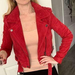 BLANKNYC red suede leather Moto jacket size Small